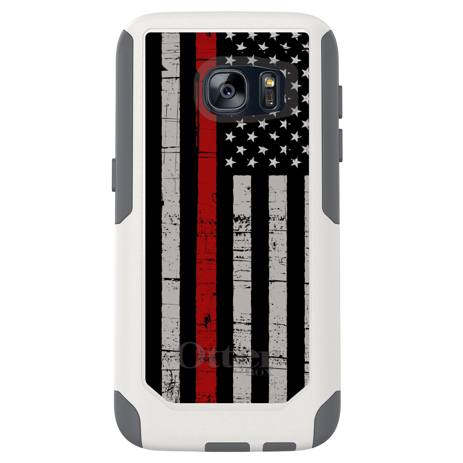 DistinctInk™ Custom White OtterBox Commuter Series Case for Samsung Galaxy S7 - Weathered Thin Red Line
