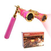 HQRP Opera Glasses / Binoculars w/ Crystal Clear Optic (CCO) 3 x 25 Pink-pearl with Gold Trim w/ Built-In Extendable Handle and Red Reading Light