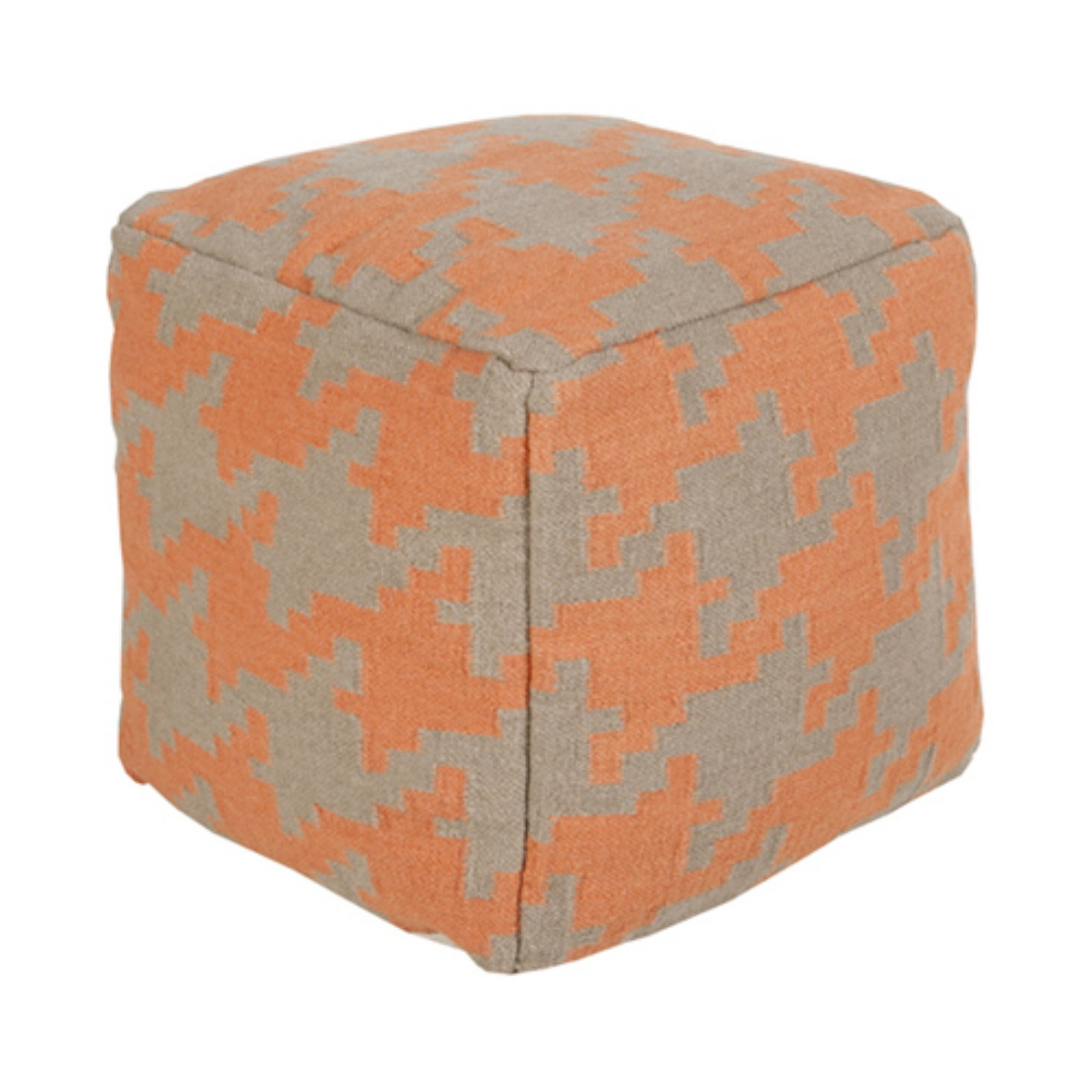 Surya 18 in. Houndstooth Cube Wool Pouf by Surya