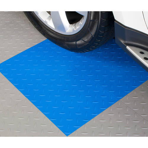 BlockTile Garage Flooring Diamond-Top Interlocking Tiles, Set of 27
