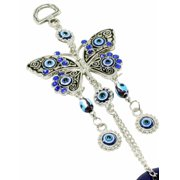 "Blue Evil Eye 2.75"" Butterfly Amulet Protection Wall Hanging Home Decor Gift GP3533"