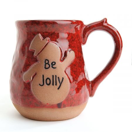 Be Jolly Snowman Ceramic Holiday Mug- Large 20 oz Christmas Coffe Cup - Snowman Out Of Cups