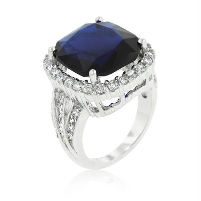 Deep Blue Sapphire Engagement Ring, <b>Size :</b> 10