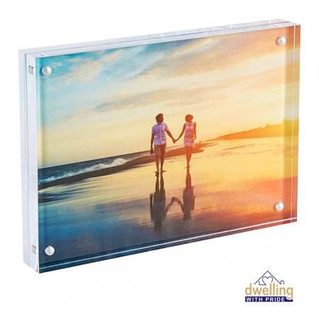 Acrylic Picture Frame | Magnetic Photo Holder | Clear Frame for Family Photographs | Clear Standing Blocks for Office Desk & Side Table | Wedding Gifts | 5x7 Inch ()