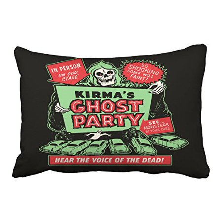 WinHome Vintage Red Green Poster Art Ghost Party Halloween Abstract Hipster Polyester 20 x 30 Inch Rectangle Throw Pillow Covers With Hidden Zipper Home Sofa Cushion Decorative Pillowcases](20 30 Halloween Party Napa)