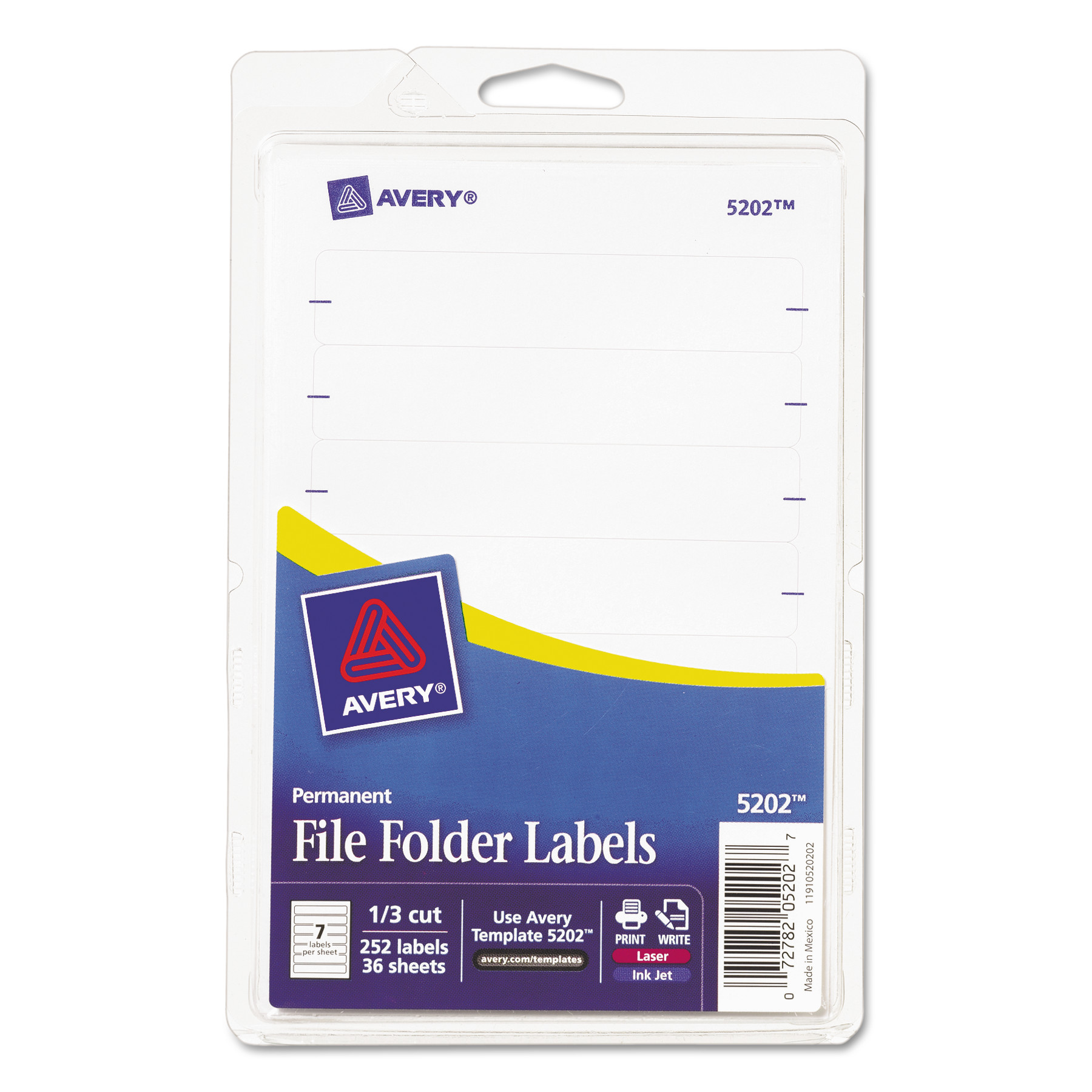 Avery File Folder Labels 5202, White, 1 3 Cut, Pack of 252 by Avery Products Corporation