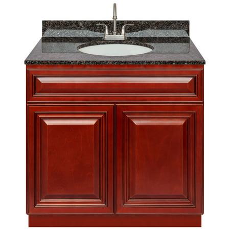 """Cherry Bathroom Vanity 36"""", Tan Brown Granite Top, Faucet LB6B"""