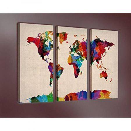 Nuolanart World Map In Watercolor Premium Canvas Art Print 28x14 Inch X 3 Panels Large Abstract Wall Art Deco Canvas Picture Stretched On