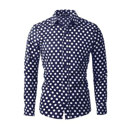 - Unique Bargains Men's Button Down Black White Polka Dots Classic Fit Shirt