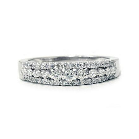 1/4ct Diamond Anniversary Wedding Ring 10K White Gold Womens Pave Wedding (Twisted Pave Band)