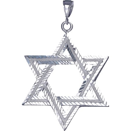 Large Sterling Silver Star of David Pendant Necklace 3 Inches 13.5 Grams with Diamond Cut Finish and 24 Inch Figaro Chain ()