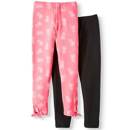 One Step Up Solid and Tie Hem Printed Leggings, 2-Pack (Little Girls & Big -