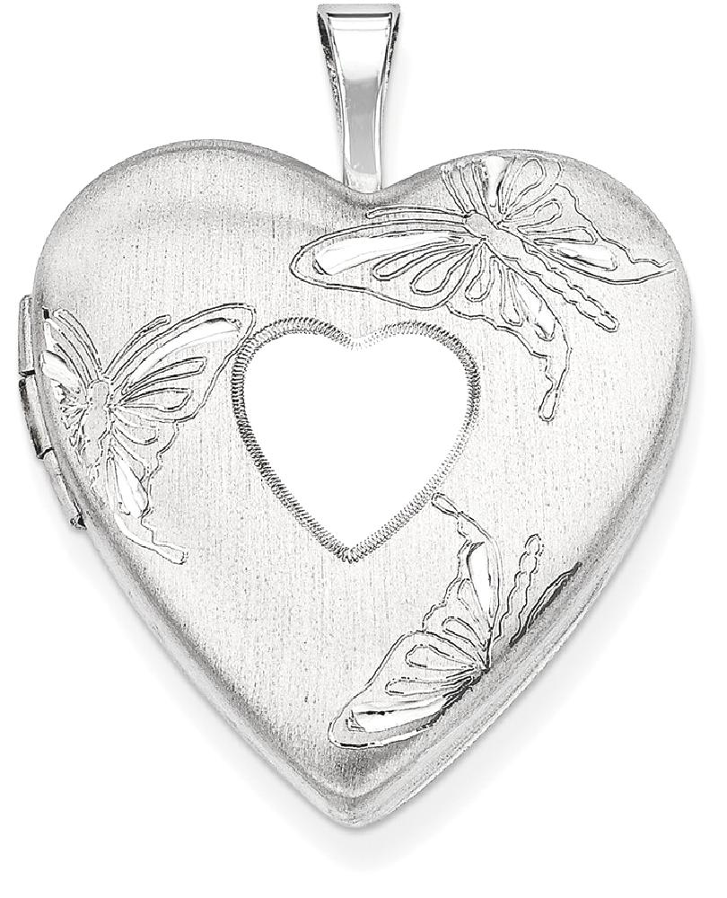 ICE CARATS ICE CARATS 925 Sterling Silver 20mm Butterflies Heart Photo Pendant Charm Locket Chain Necklace That Holds... by IceCarats Designer Jewelry Gift USA