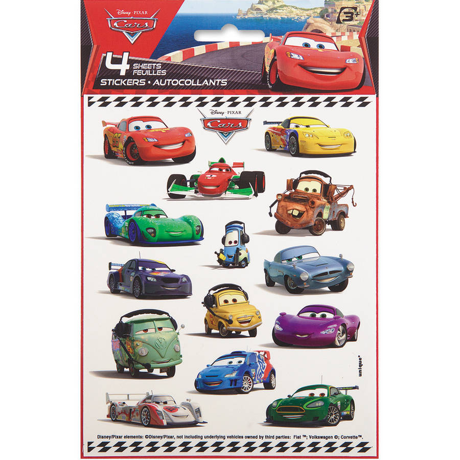 Disney Cars Sticker Sheets, 4-Count