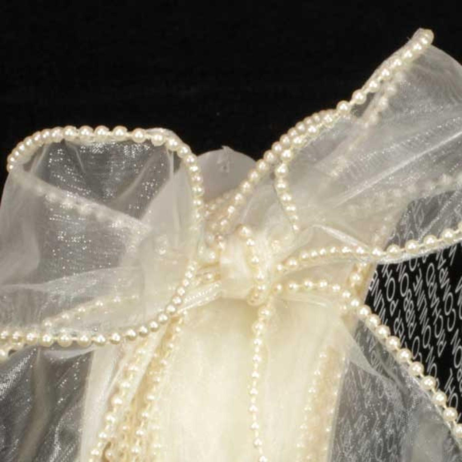 "Designer Creamy Ivory Wired Pearl Edge Sheer Craft Ribbon 2"" x 40 Yards"