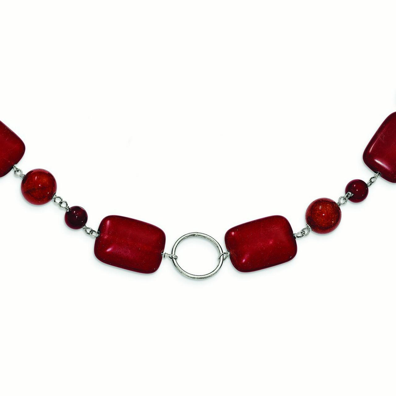 Sterling Silver Red Created Simulated Coral Red Agate Red Stone Necklace 18 Inch Lobster Claw by