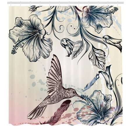 Hummingbird Shower Curtain Floral Art In Vintage Style With Hibiscus Flowers And Feathers Fabric Bathroom Set Hooks Teal Brown
