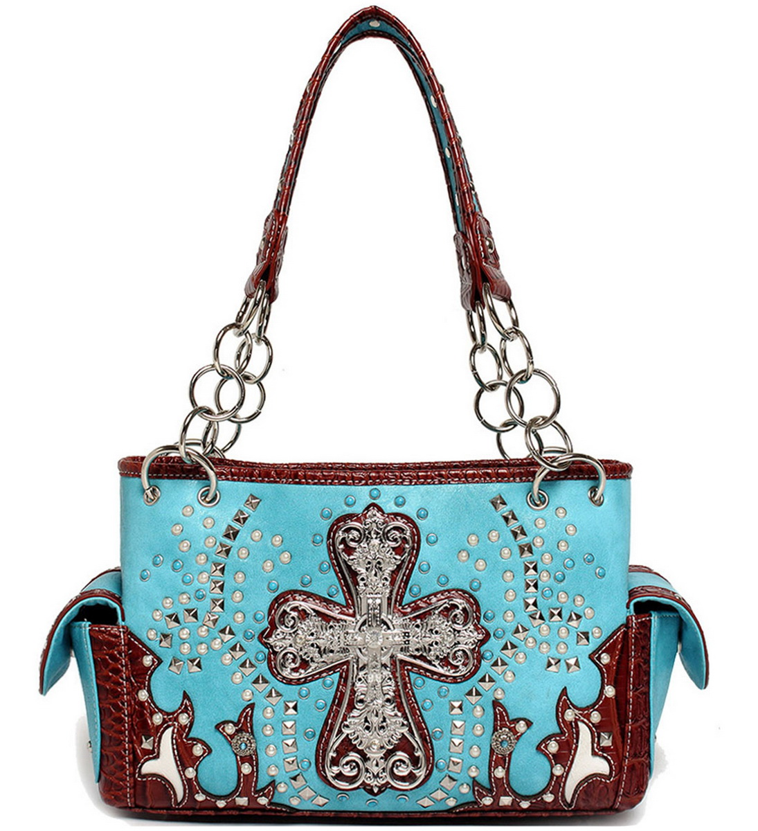 Blancho Bedding Womens [Cross With Stone] PU Leather Handbag Fashion Elegant Tote Bag AQUA