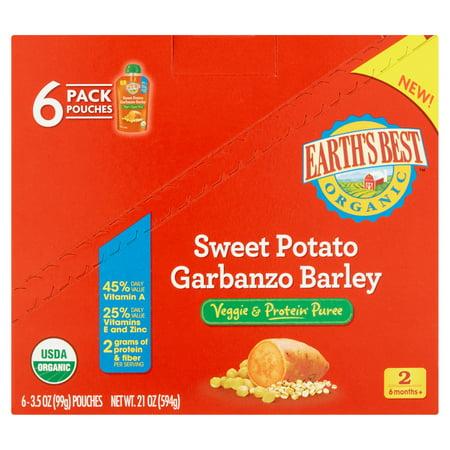 Earths Best Organic Baby Food Sweet Potato Garbanzo Barley Veggie & Protein Puree, 3.5 oz, 6 Pack