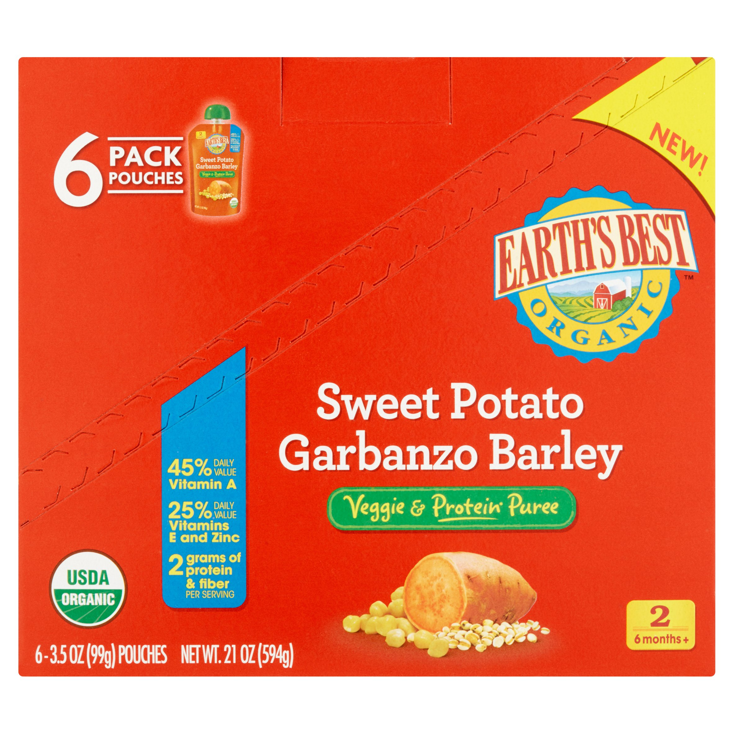 Earths Best Organic Baby Food Sweet Potato Garbanzo Barley Veggie & Protein Puree, 3.5 oz, 6 Pack