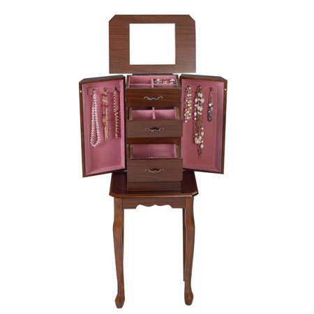 Standing Jewelry Cabinet Wood Armoire Box Storage Chest Organizer Necklace New ()
