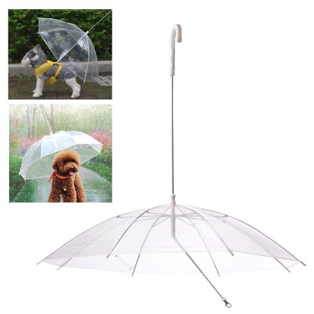 (Pet Umbrella Built In Leash Dog Puppy Dry Walking Sleet Snow Rain Clear Plastic)