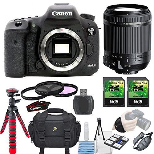 Canon EOS 7D Mark II 20.2MP DSLR Camera + Tamron 18-200mm Di II VC Lens + 3 piece Filter Kit + 2 pc 16GB... by Paging Zone