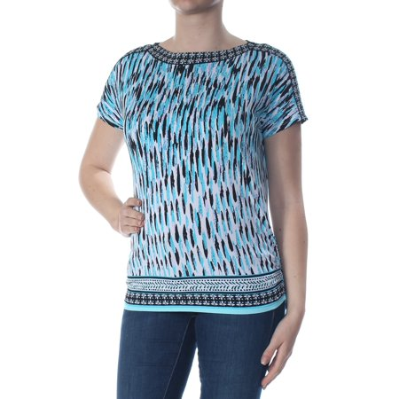 JM COLLECTION Womens Blue Printed Embellished Short Sleeve Boat Neck Wear To Work Top Petites  Size: