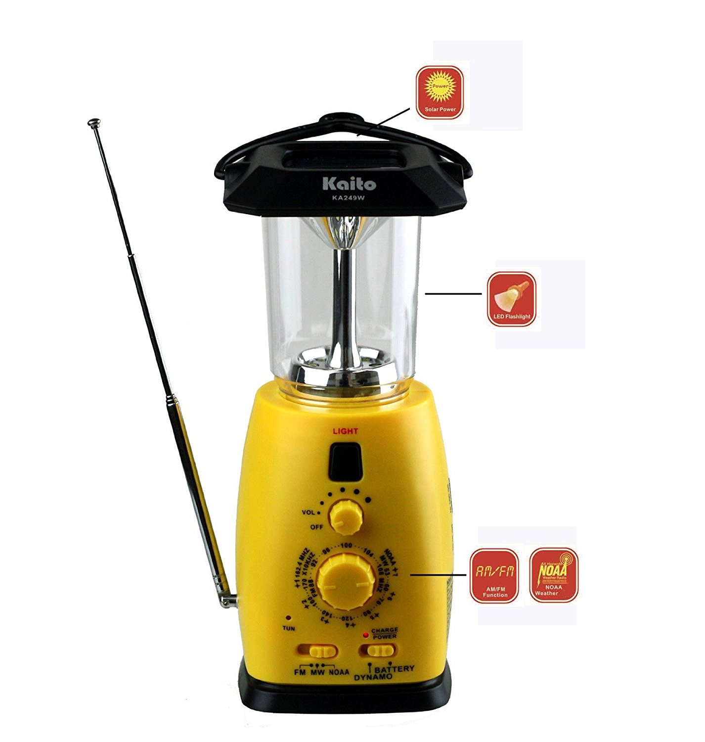 Kaito KA249W Solar and Crank LED Camping Lantern with AM FM NOAA Weather Radio & Cell Phone Charger - Yellow