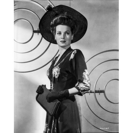 Maureen Ohara Posed In Black Dress With Hat And Gloves Photo Print