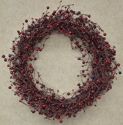 "Wreath - 20"" Country Berry Pips Burgundy Red - Rustic Primitive by CWI Gifts"