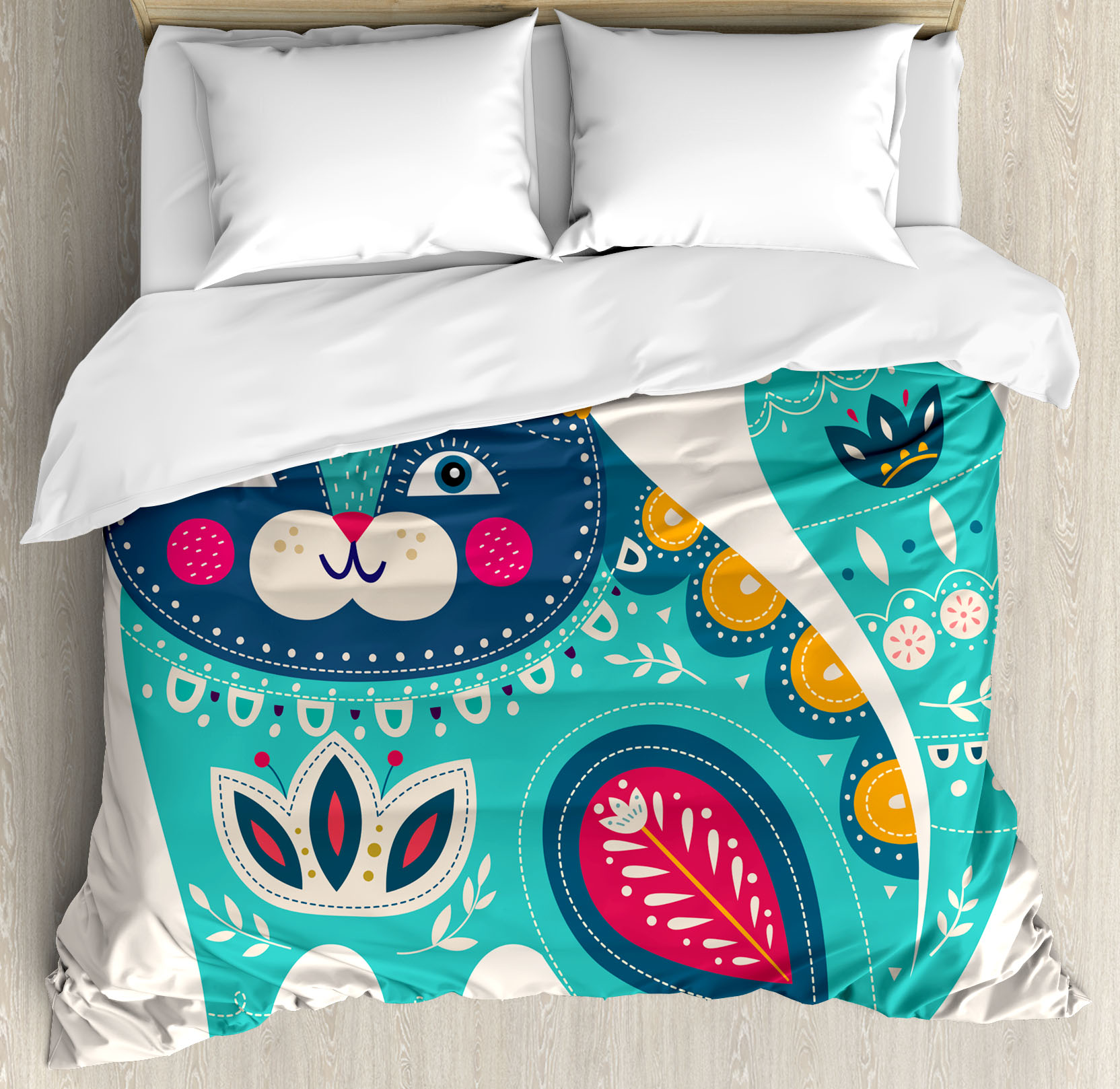 Animal Decor Queen Size Duvet Cover Set, Cute Chubby Smiling Cat with Colorful Paisley Ethnic Indian Style Figures Artwork, Decorative 3 Piece Bedding Set with 2 Pillow Shams, Colored, by Ambesonne