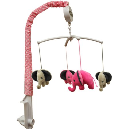 Bacati   Elephants Musical Mobile With Hanging Toys  Pink Gray