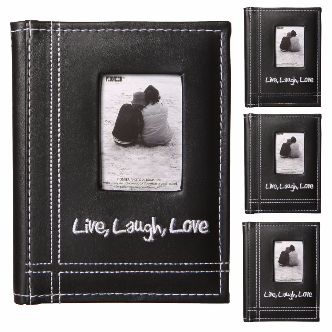 "Pioneer ""Live, Laugh, Love"" Embroidered Frame Cover Sewn Leatherette Mini Photo Album  (Black, 4-Pack)"