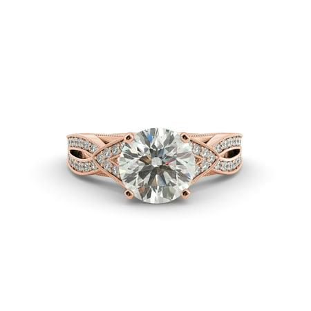 2.00 dwt Round Cut Moissanite Vintage Diamond Engagement Ring 14k Rose Gold Moissanite Vintage Ring