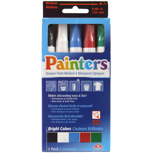 Elmer's Painters Paint Markers, Medium Tip, Bright Colors, 5pk
