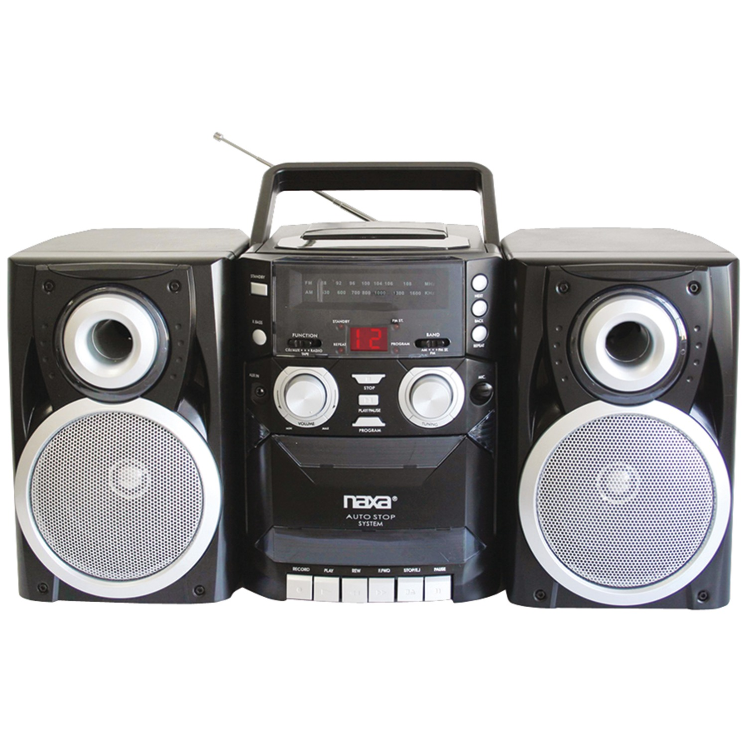 Naxa NPB426 Portable CD Player with AM FM Radio, Cassette & Detachable Speakers by Naxa