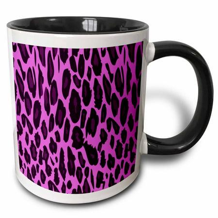 3dRose Hot Pink Cheetah - Two Tone Black Mug,