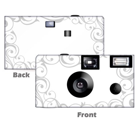 Elegant Wedding in Silver Disposable Cameras.  5 pack ,free shipping.  Wedding Cameras, Anniversary Cameras, Event Cameras, from CustomCameraCollection WM-50452-C (Wedding Disposable Cameras)