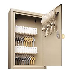 "MMF Industries 30-Key Locking Tag-Style Steel Key Cabinet, 8"" x 2 5/8"" x 12 1/8"", Sand"