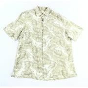 Tasso Elba NEW Beige Mens Size Large L Leaf Pocket Button Down Silk Shirt