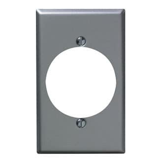 Leviton  001-4927 Single Gang Aluminum Finish Power Outlet Receptacle Wallplate - Open Top Receptacle Finish