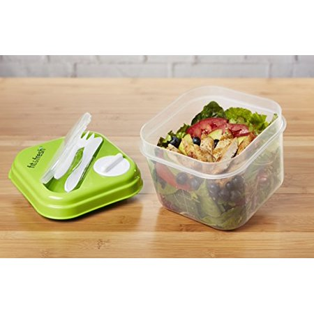Hopper Fresh Mix Dispenser (Fit & Fresh Salad Shaker Lunch Container with Built-in Dressing Dispenser, Utensils and Reusable Ice)