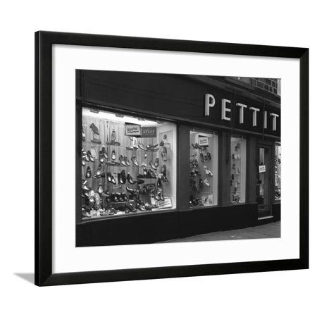 Wearra Shoes, Shop Window Display, Mexborough, South Yorkshire, 1960 Framed Print Wall Art By Michael