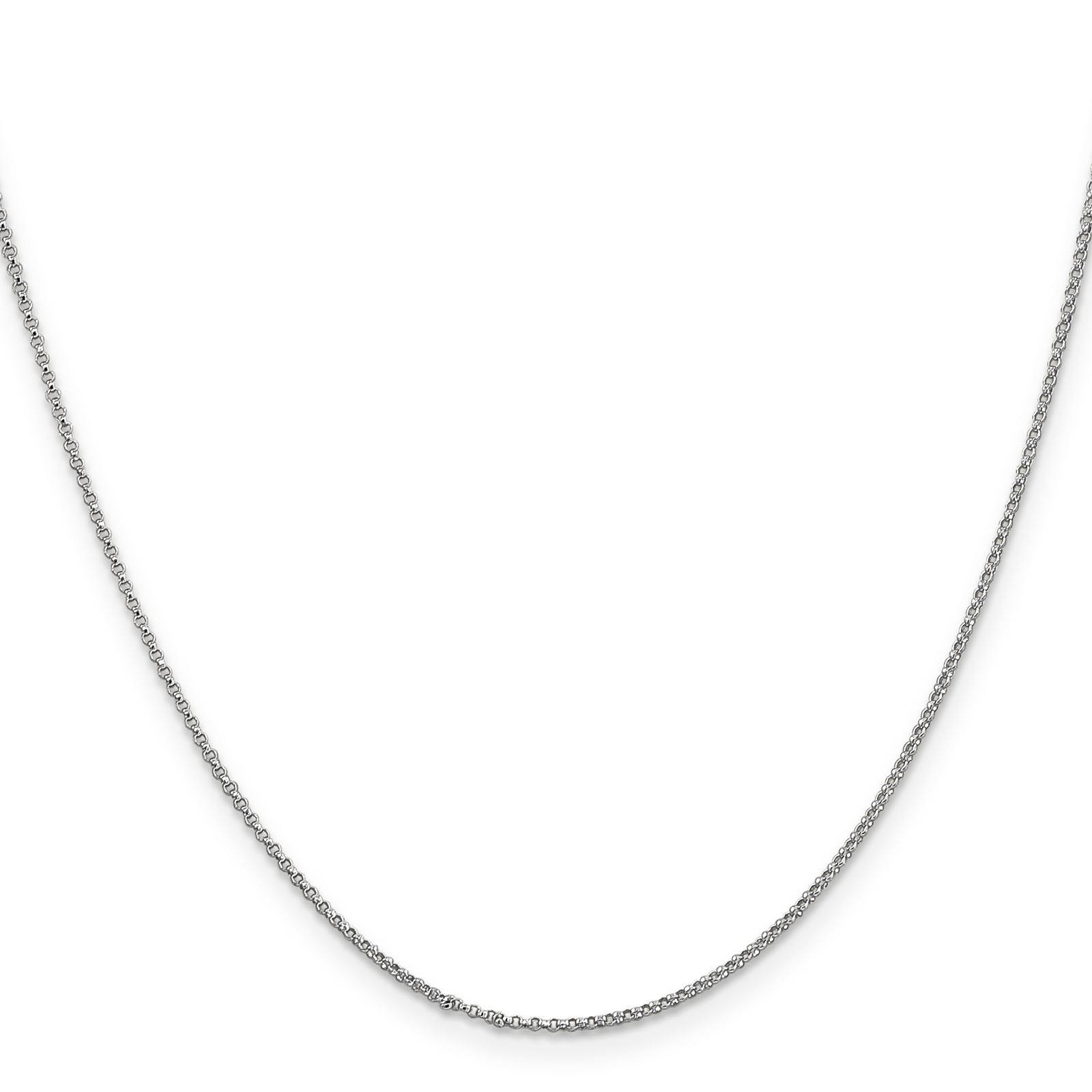 """14k White Gold 1.15mm Polished Rolo Pendant Chain Necklace 24"""" by Fusion Collections"""