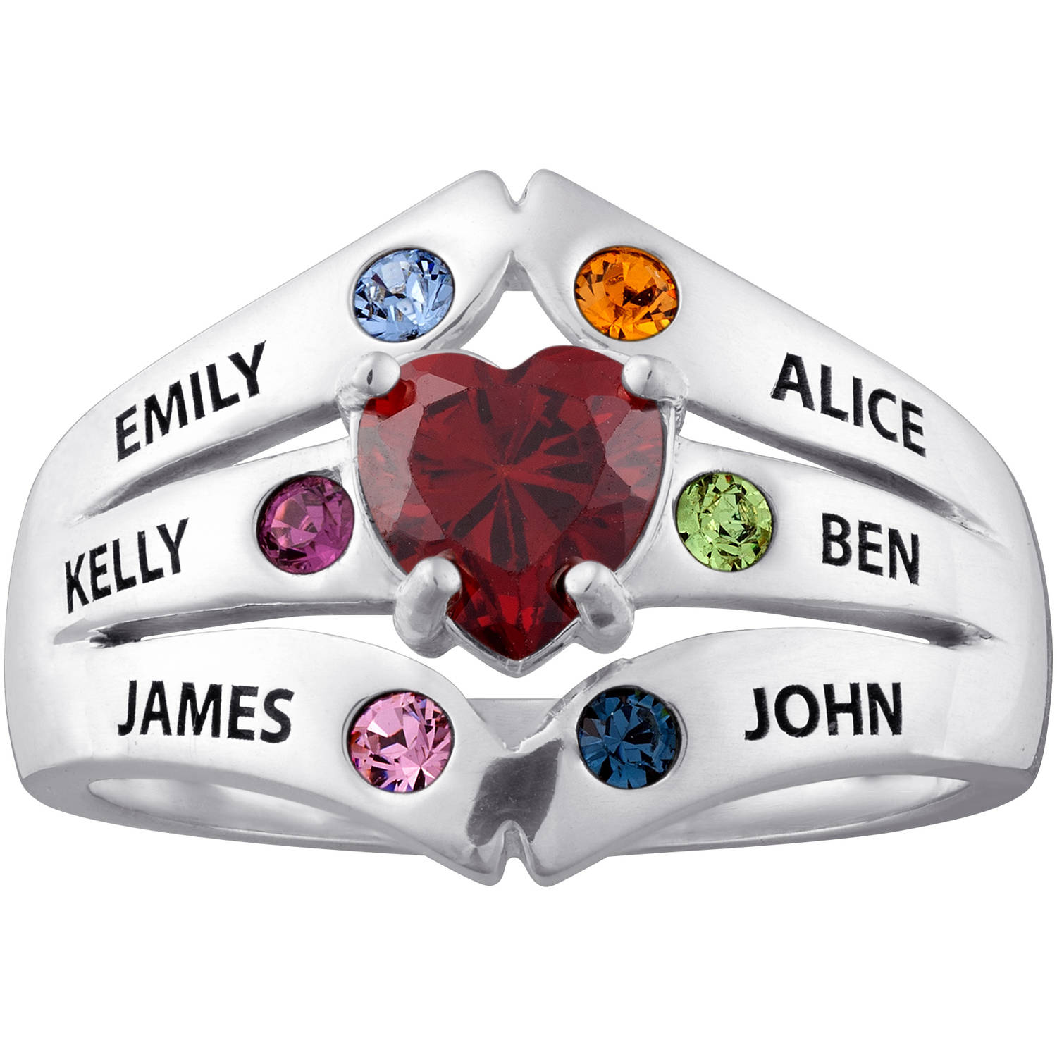 Personalized Sterling Silver or 14K Gold over Silver Birthstone Heart Mother's Ring