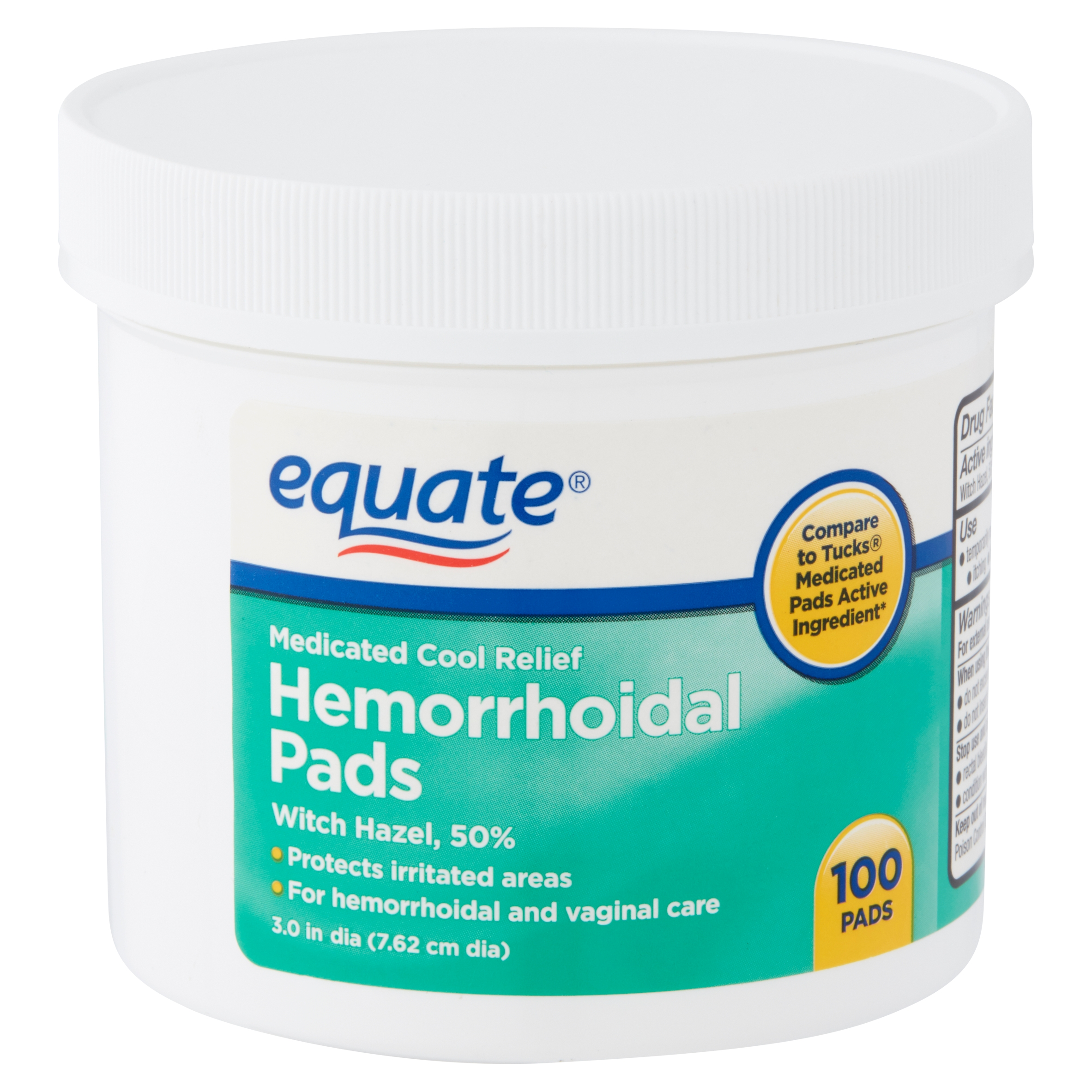 Equate Medicated Cool Relief Hemorrhoidal Pads, 100 count