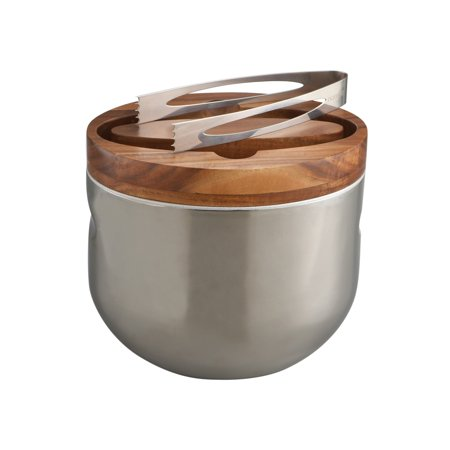 Nambe Mikko Stainless Steel and Wood Ice Bucket with Tongs