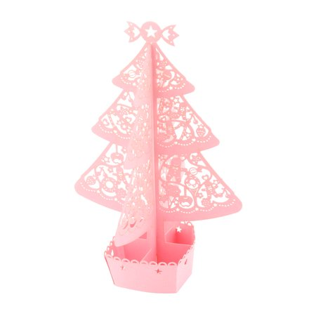 Festival Paper Hollow Out 3D Christmas Tree Design Present Greeting Card Pink - image 2 of 2