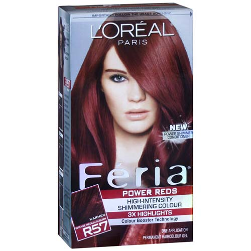 Loreal Paris Feria Power Reds Permanent  Hair Color, R57 Intense Medium Auburn/Cherry Crush - 1 Ea